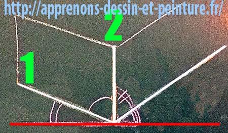Figure 3. Principes pour dessiner une vue d'angle : tracer la verticale d'angle. Création : Richard Martens.