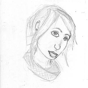 AVANT : dessin d'une condisciple par ©Thomas BRIE. DR, 2009.