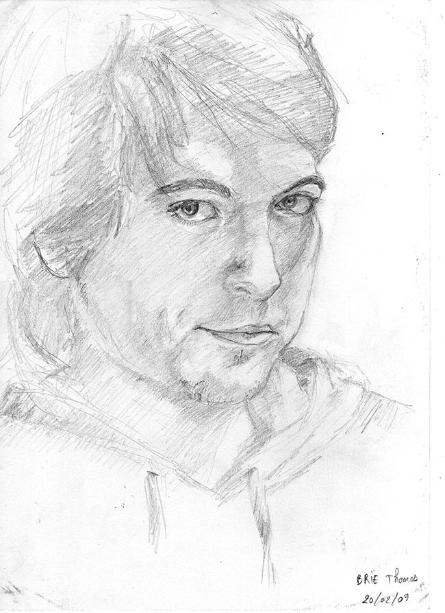 APRES : autoportrait au crayon de ©Thomas BRIE ©. DR. 2009.