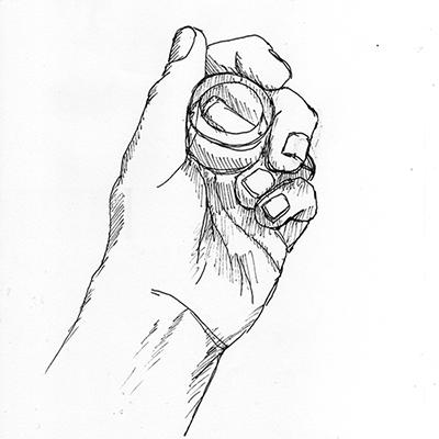 APRES, en cerveau droit. Dessin de sa main tenant un rouleau de ruban adhésif sans dévidoir, par ©Thomas BRIE. DR. 2009.