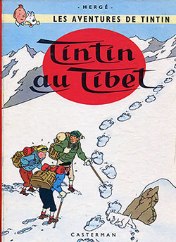 """Couverture de """"Tintin au Tibet"""", par Hergé, aux éditions Casterman."""