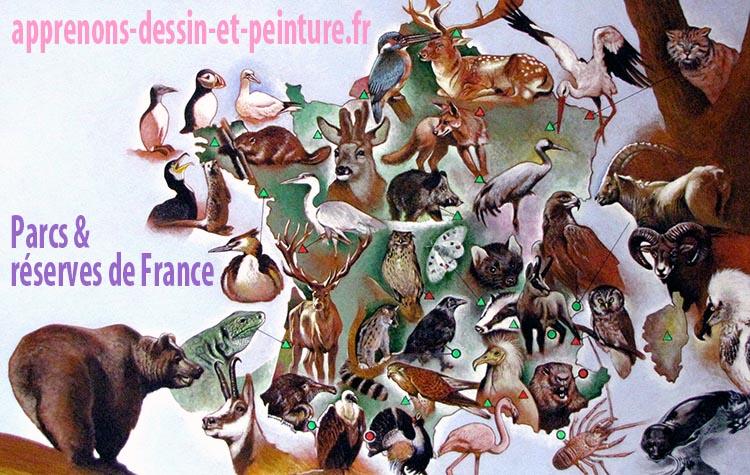 """Parcs et Réserves de France, peinture acrylique par Richard Martens, à partir de photographies. Illustration paru en double page comme """"Encyclopif"""", dans le journal <em>Pif Gadget</em>."""