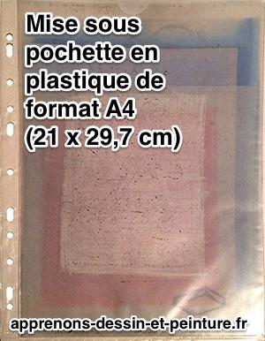 """Des """"calques-carbones"""" de couleurs, annotés et rangés dans une pochette au format A4. Photo : ©Richard Martens."""