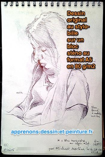 Figure 3 : dessin original de Richard Martens, sur bloc sténo en format A5. Photo et dessin : ©R. Martens.