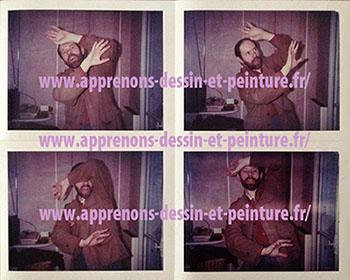 """Recherches de Richard Martens. Quatre photos """"Polaroid"""", pour la couverture de """"La Mouche et l'araignée"""", roman policier de Frank Parrish, collection Série noire, 1987."""