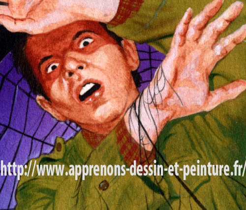 """Détail de la peinture de Richard Martens, pour la couverture de """"La Mouche et l'araignée"""", roman policier de Frank Parrish, collection Série noire, 1987."""