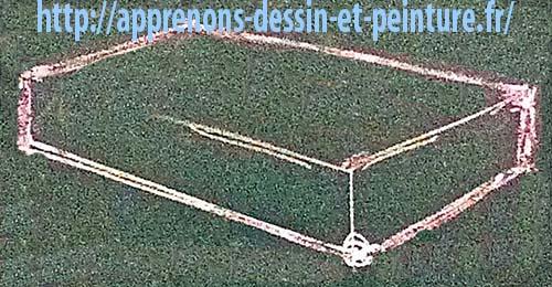 Figure 2 : parallélépipède rectangle tracé à la craie, sans cadre d'enveloppe, par Richard Martens.