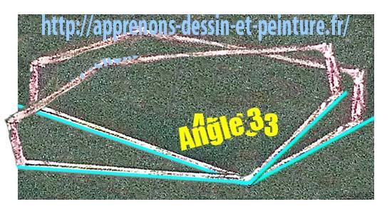 """Figure 5 : s'il n'y a pas de ligne horizontale, il y a seulement un angle : """"Angle 3"""". Où doit-on le placer ? Ici ou là ?. Schéma par Richard Martens."""