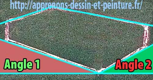 """Figure 8 : s'il y a une ligne horizontale imaginaire (ou réelle), il suffit de mesurer d'abord """"Angle 1"""" ou """"Angle 2"""". Puis placer """"l'Angle 3 ! Schéma par Richard Martens."""