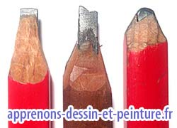 Crayon de menuisier de trois marques différentes. Photo Richard Martens.