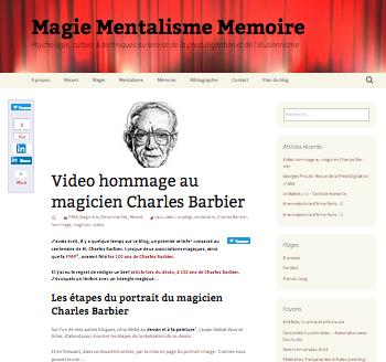 """Blog """"http://magie-mentalisme-memoire.fr/"""" : page d""""accueil."""