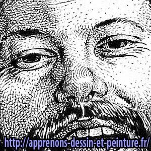 Martens Richard : détail du dessin du visage avec des hachures et des points.