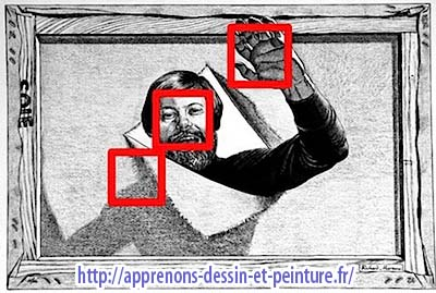 Martens Richard : autoportrait, avec indication de trois détails, de haut en bas : la main, le visage & un morceau de la toile.