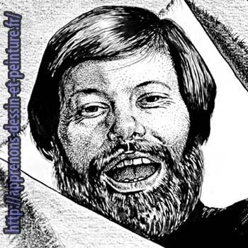 """Richard Martens : détail carré de l'autoportrait à la plume et à l'encre de Chine, publié autrefois dans le """"Monde-dimanche""""."""