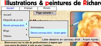 """Menu d'accès aux dessins en cerveau droit des stagiaires sur mon site : """"http://richard-martens.eu"""""""