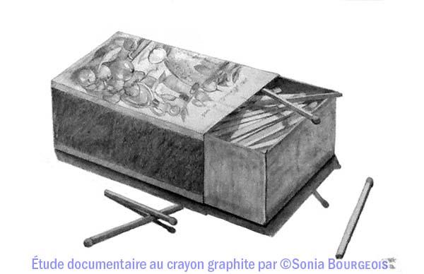 Dessin au crayon graphite d'une boite d'allumettes par Sonia Bourgeois. Ph. : R. Martens.
