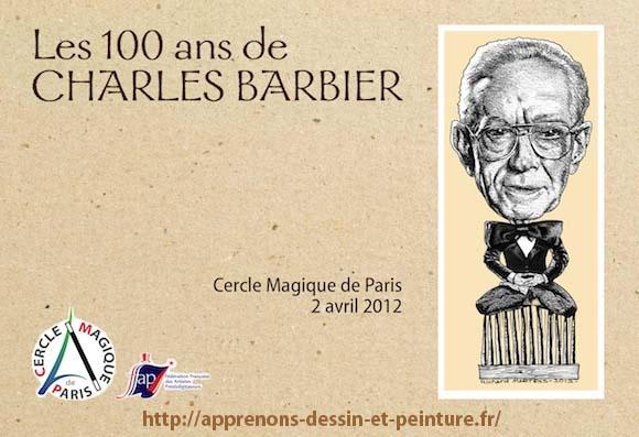 Carton d'invitation pour les 100 ans de M. Charles Barbier. Conception, mise en page et dessin par ©Richard Martens en mars 2012.