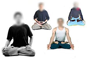 Diverses représentations de la posture du lotus. D.R.