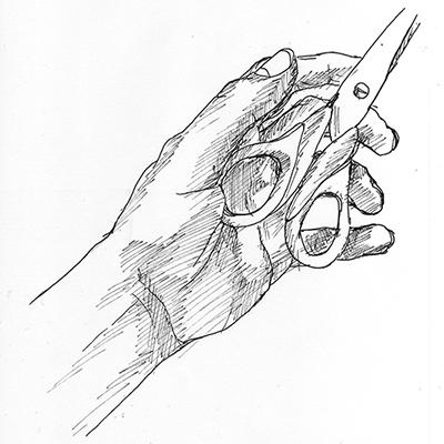 APRES, en cerveau droit. Dessin de sa main tenant une paire de ciseaux, par ©Thomas BRIE. DR. 2009.