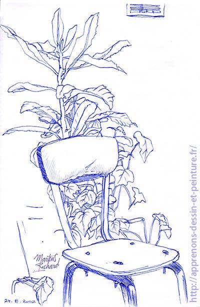 Dessin en cerveau droit d'une chaise et d'une plante, lors d'une démonstration, par Richard Martens.