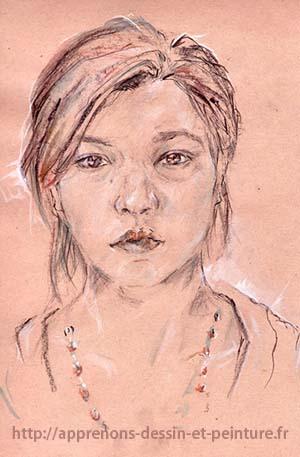Dessin en cerveau droit : autoportrait de ©Fayza M., 2010. DR.