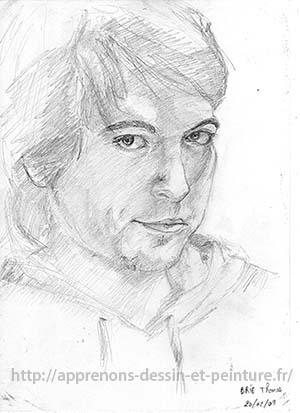 Dessin en cerveau droit : autoportrait de ©Thomas BRIE, 2009 DR.