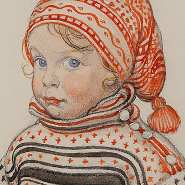 Extrait de l'affiche de l'exposition Carl Larsson montrant la technique de l'aquarelle, couplée au crayon graphite.