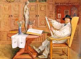 Autoportrait de l'artiste, Carl Larsson, assis dans son atelier.