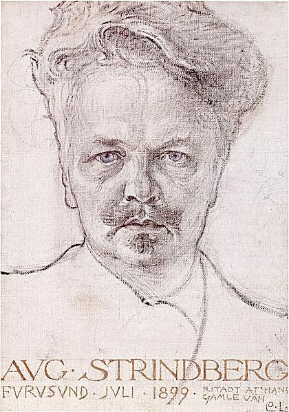 Portrait d'August Strindberg par Carl Larsson. Wikimedia Commons.
