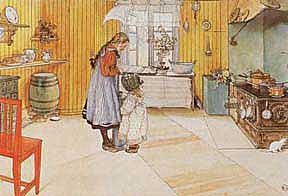 Aquarelle de Carl Larsson, représentant un intérieur, avec une fillette, et un enfant…