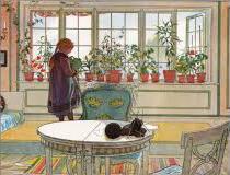 Aquarelle de Carl Larsson, représentant un intérieur, avec une fillette…