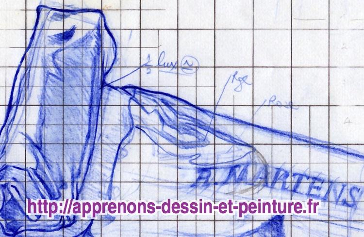 """Détail agrandi du dessin final sur papier machine en A4 représentant un """"crayon-tube"""", avec une mise aux carreaux, par ©Richard Martens."""