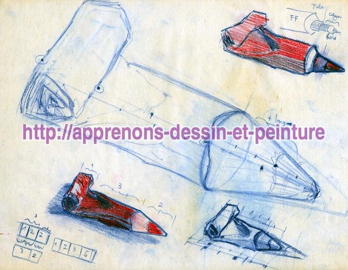 Recherches sous la forme de croquis sur papier calque, par Richard Martens.