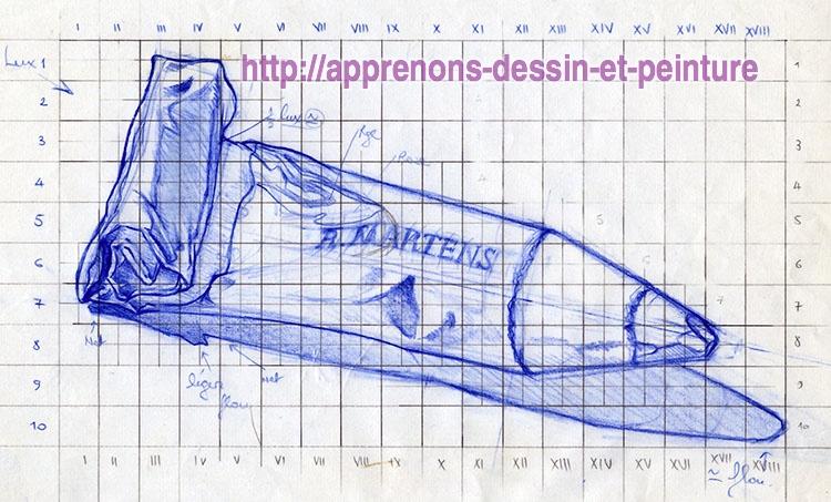 """Dessin final sur papier machine en A4 représentant un """"crayon-tube"""", avec une mise aux carreaux, par ©Richard Martens."""