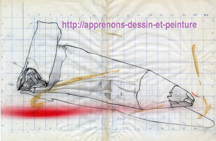 """Calque en A3 (29,7 x 42 cm) représentant un """"crayon-tube"""", avec une mise aux carreaux, par ©Richard Martens."""
