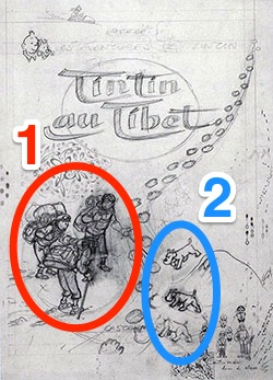 """Dessin annoté de la couverture de """"Tintin au Tibet"""", par Hergé aux éditions Casterman."""