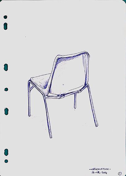 """Un siège en plastique, dessiné par Emeline, le matin du premier jour du stage de """"Dessin en cerveau droit"""", en 2014."""
