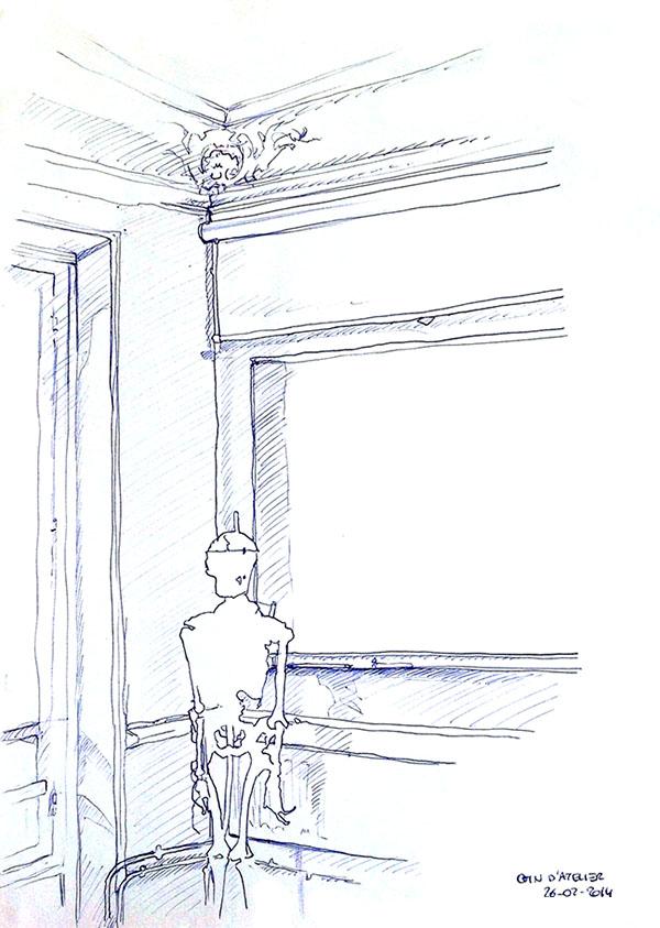 """Coin d'atelier dessiné par Emeline, en 2014, lors d'un stage de """"Dessin en cerveau droit""""."""