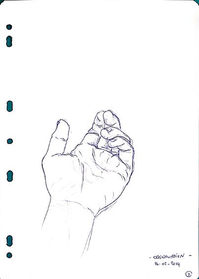 La main gauche dessinée par Emeline, en 2014, lors d'un stage de dessin en cerveau droit.