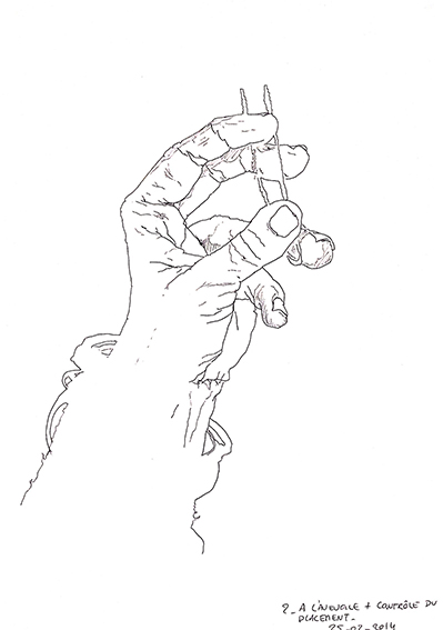 """Main gauche (2) dessinée par Emeline, en 2014, lors d'un stage de """"Dessin en cerveau droit""""."""