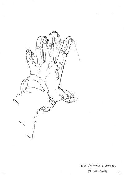 """Sa main gauche (3) dessinée par Emeline, en 2014, lors d'un stage de """"Dessin en cerveau droit""""."""