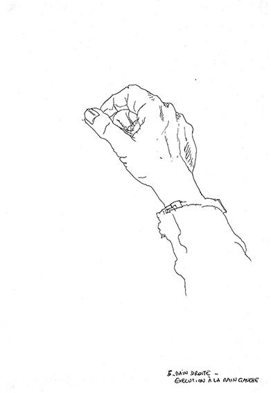 """Sa main gauche (4) dessinée par Emeline, en 2014, lors d'un stage de """"Dessin en cerveau droit""""."""