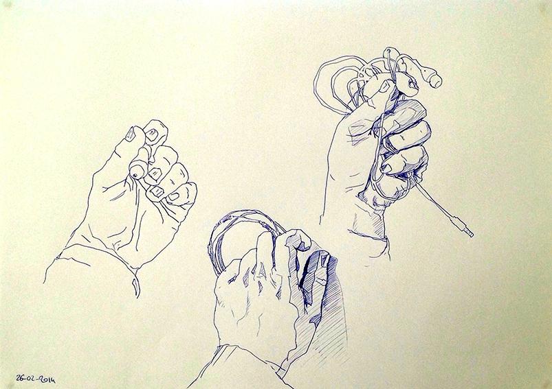 """Trois dessins de sa main gauche (5) réalisés par Emeline, en 2014, lors d'un stage de """"Dessin en cerveau droit""""."""