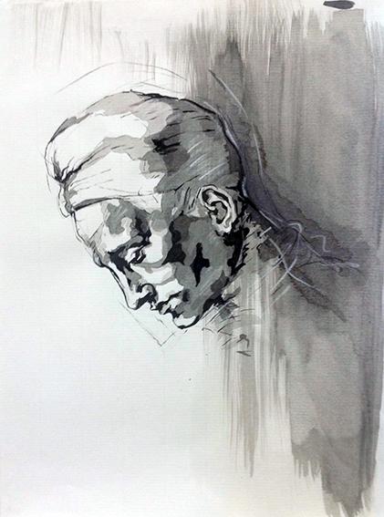 """Portrait par Michel-Ange, copié et librement interprété, à l'encre de Chine & au lavis, par Emeline, en 2014, lors du stage de """"Dessin en cerveau droit""""."""