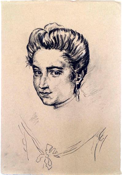 """Portrait de la Renaissance, copie d'Emeline, en 2014, lors du stage de """"Dessin en cerveau droit""""."""