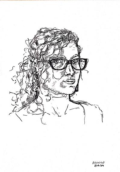 """Autoportrait (1) réalisé par Emeline, en 2014, lors de ce même stage de """"Dessin en cerveau droit""""."""