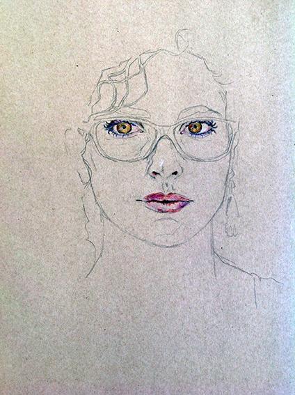 """Magnifique autoportrait (2) réalisé par Emeline, en 2014, lors du stage de """"Dessin en cerveau droit""""."""