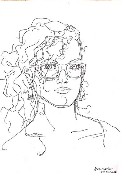 """Etonnant autoportrait (3) réalisé… de MEMOIRE (!) par Emeline, en 2014, lors de ce même stage de """"Dessin en cerveau droit""""."""