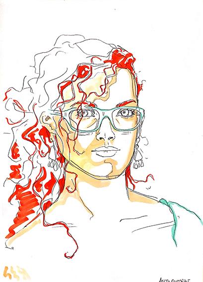 """Photocopie de l'autoportrait (4) réalisé de mémoire par Emeline, et mise en couleurs, en 2014, lors d'un stage de """"Dessin en cerveau droit""""."""