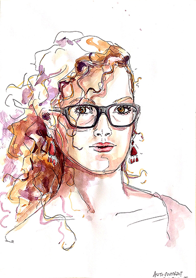 """Une autre mise en couleurs à partir d'une photocopie de l'autoportrait (5) réalisé par Emeline, en 2014, lors d'un stage de """"Dessin en cerveau droit""""."""